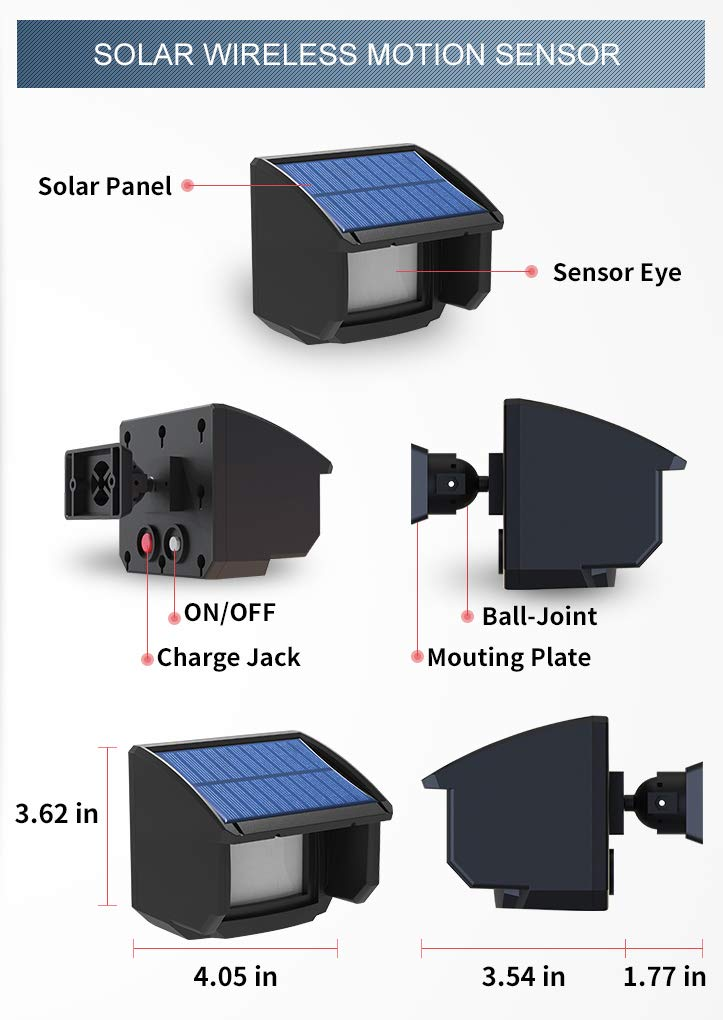 Driveway Alarm Motion Sensor Solar wireless 1/4 Mile Long send